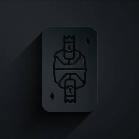 Paper cut King playing card with diamonds symbol icon isolated on black background. Casino gambling. Paper art style. Vector Illustration