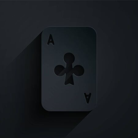 Paper cut Playing card with clubs symbol icon isolated on black background. Casino gambling. Paper art style. Vector Illustration 일러스트