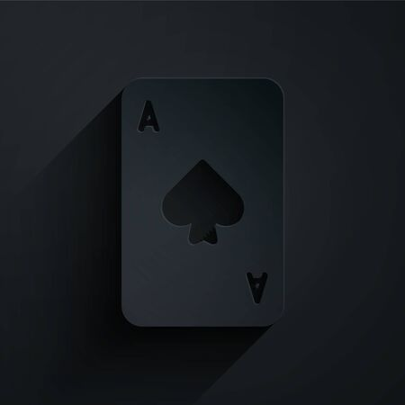Paper cut Playing card with spades symbol icon isolated on black background. Casino gambling. Paper art style. Vector Illustration