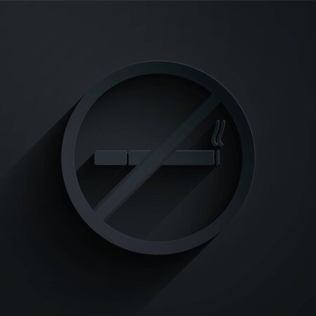 Paper cut No Smoking icon isolated on black background. Cigarette symbol. Paper art style. Vector Illustration