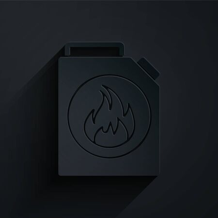 Paper cut Canister for flammable liquids icon isolated on black background. Oil or biofuel, explosive chemicals, dangerous substances. Paper art style. Vector Illustration