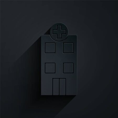 Paper cut Medical hospital building with cross icon isolated on black background. Medical center. Health care. Paper art style. Vector Illustration Çizim