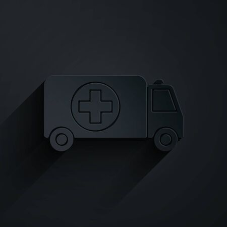 Paper cut Ambulance and emergency car icon isolated on black background. Ambulance vehicle medical evacuation. Paper art style. Vector Illustration