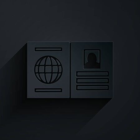 Paper cut Passport with biometric data icon isolated on black background. Identification Document. Paper art style. Vector Illustration Vettoriali