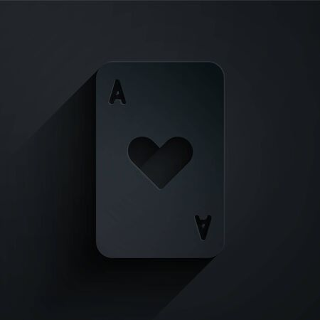 Paper cut Playing card with heart symbol icon isolated on black background. Casino gambling. Paper art style. Vector Illustration