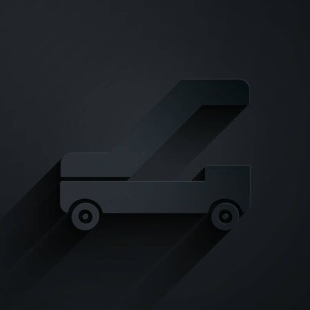 Paper cut Passenger ladder for plane boarding icon isolated on black background. Airport stair travel. Paper art style. Vector Illustration