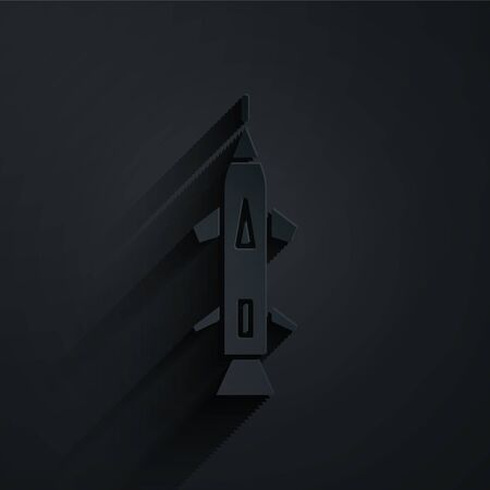 Paper cut Rocket icon isolated on black background. Paper art style. Vector Illustration
