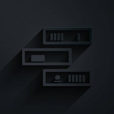 Paper cut Shelf with books icon isolated on black background. Shelves sign. Paper art style. Vector Illustration Çizim