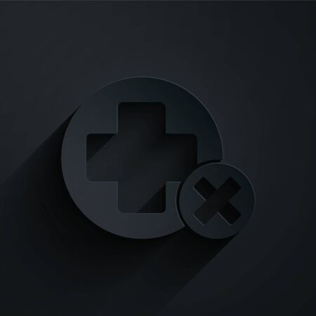 Paper cut Cross hospital medical icon isolated on black background. First aid. Diagnostics symbol. Medicine and pharmacy sign. Paper art style. Vector Illustration