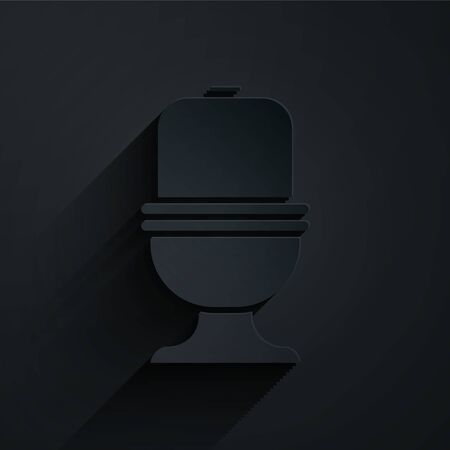 Paper cut Toilet bowl icon isolated on black background. Paper art style. Vector Illustration