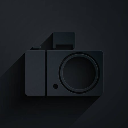 Paper cut Photo camera icon isolated on black background. Foto camera icon. Paper art style. Vector Illustration