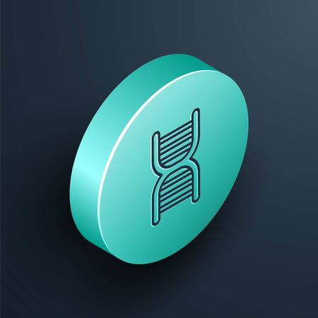Isometric line DNA symbol icon isolated on black background. Turquoise circle button. Vector Illustration