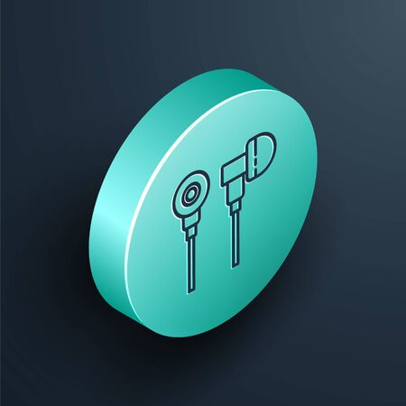 Isometric line Air headphones icon icon isolated on black background. Holder wireless in case earphones garniture electronic gadget. Turquoise circle button. Vector Illustration