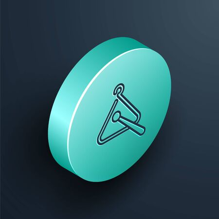 Isometric line Triangle musical instrument icon isolated on black background. Turquoise circle button. Vector Illustration