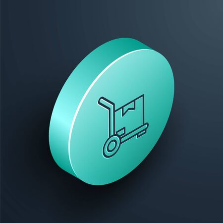Isometric line Hand truck and boxes icon isolated on black background. Dolly symbol. Turquoise circle button. Vector Illustration