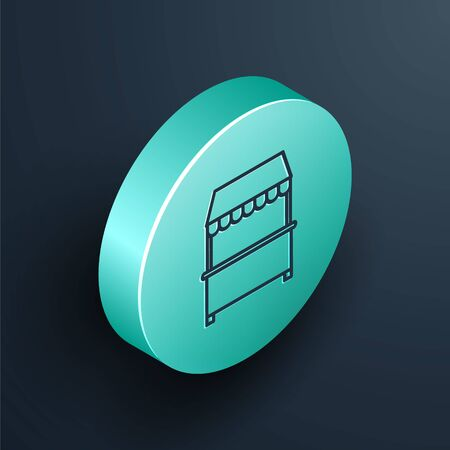Isometric line Street stall with awning and wooden rack icon isolated on black background. Kiosk with wooden rack. Turquoise circle button. Vector Illustration Ilustrace