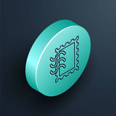 Isometric line Postal stamp icon isolated on black background. Turquoise circle button. Vector Illustration