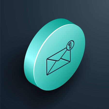 Isometric line Envelope icon isolated on black background. Received message concept. New, email incoming message, sms. Mail delivery service. Turquoise circle button. Vector Illustration Stock Illustratie