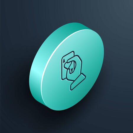 Isometric line Hand holding playing cards icon isolated on black background. Casino game design. Turquoise circle button. Vector Illustration