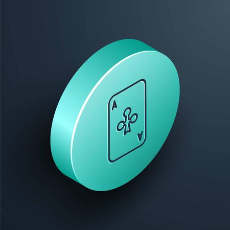 Isometric line Playing card with clubs symbol icon isolated on black background. Casino gambling. Turquoise circle button. Vector Illustration