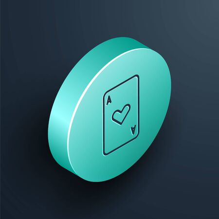 Isometric line Playing card with heart symbol icon isolated on black background. Casino gambling. Turquoise circle button. Vector Illustration