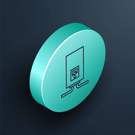 Isometric line Gas boiler with a burning fire icon isolated on black background. Turquoise circle button. Vector Illustration