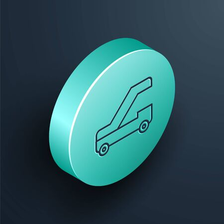 Isometric line Passenger ladder for plane boarding icon isolated on black background. Airport stair travel. Turquoise circle button. Vector Illustration