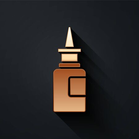 Gold Bottle nasal spray icon isolated on black background. Long shadow style. Vector Illustration