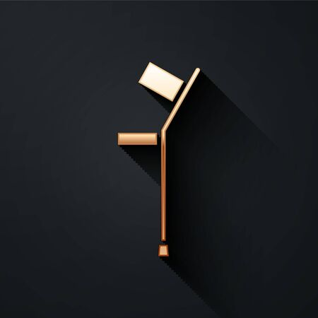 Gold Crutch or crutches icon isolated on black background. Equipment for rehabilitation of people with diseases of musculoskeletal system. Long shadow style. Vector Illustration