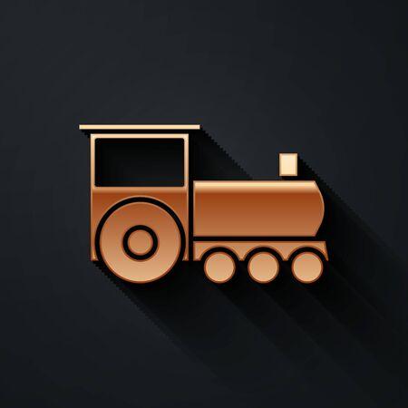 Gold Retro train icon isolated on black background. Public transportation symbol. Long shadow style. Vector Illustration 일러스트