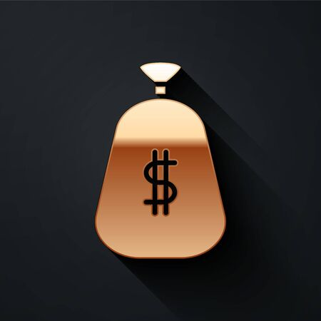 Gold Money bag icon isolated on black background. Dollar or USD symbol. Cash Banking currency sign. Long shadow style. Vector Illustration