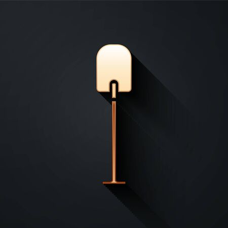 Gold Shovel icon isolated on black background. Gardening tool. Tool for horticulture, agriculture, farming. Long shadow style. Vector Illustration