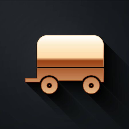 Gold Wild west covered wagon icon isolated on black background. Long shadow style. Vector Illustration