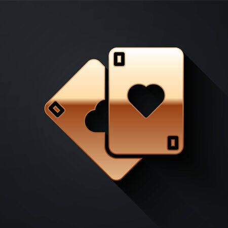 Gold Playing cards icon isolated on black background. Casino gambling. Long shadow style. Vector Illustration 일러스트