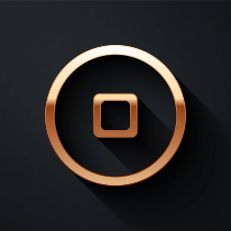 Gold Chinese Yuan currency symbol icon isolated on black background. Coin money. Banking currency sign. Cash symbol. Long shadow style. Vector Illustration