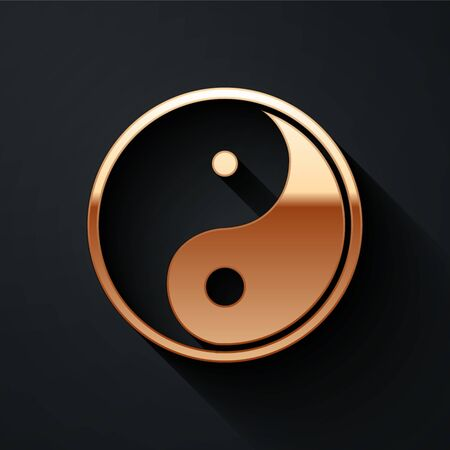 Gold Yin Yang symbol of harmony and balance icon isolated on black background. Long shadow style. Vector Illustration