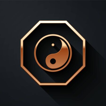 Gold Yin Yang symbol of harmony and balance icon isolated on black background. Long shadow style. Vector Illustration