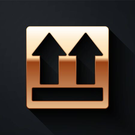 Gold This side up icon isolated on black background. Two arrows indicating top side of packaging. Cargo handled. Long shadow style. Vector Illustration Illustration