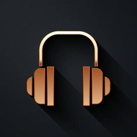 Gold Headphones icon isolated on black background. Support customer service, hotline, call center, faq, maintenance. Long shadow style. Vector Illustration