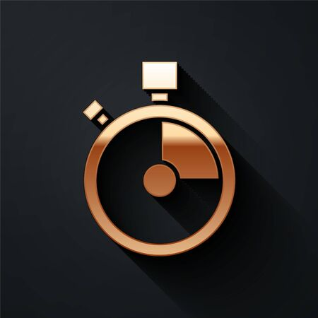 Gold Fast time delivery icon isolated on black background. Timely service, stopwatch in motion, deadline concept, clock speed. Long shadow style. Vector Illustration 向量圖像