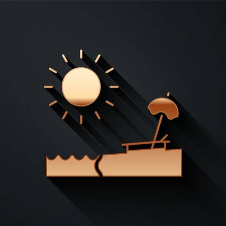 Gold Beach with umbrella and chair icon isolated on black background. Tropical beach landscape. Good sunny day. Long shadow style. Vector Illustration