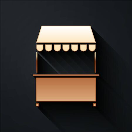 Gold Street stall with awning and wooden rack icon isolated on black background. Kiosk with wooden rack. Long shadow style. Vector Illustration Ilustrace