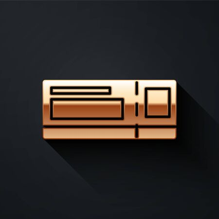 Gold Travel ticket icon isolated on black background. Train, ship, plane, tram, bus transport. Travel service concept. Long shadow style. Vector Illustration