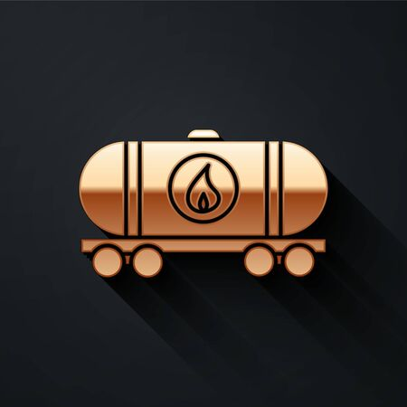 Gold Oil railway cistern icon isolated on black background. Train oil tank on railway car. Rail freight. Oil industry. Long shadow style. Vector Illustration