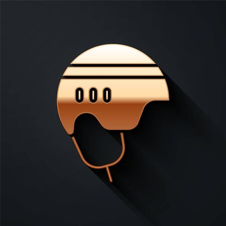 Gold Hockey helmet icon isolated on black background. Long shadow style. Vector Illustration
