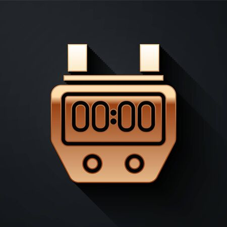 Gold Stopwatch icon isolated on black background. Time timer sign. Chronometer sign. Long shadow style. Vector Illustration