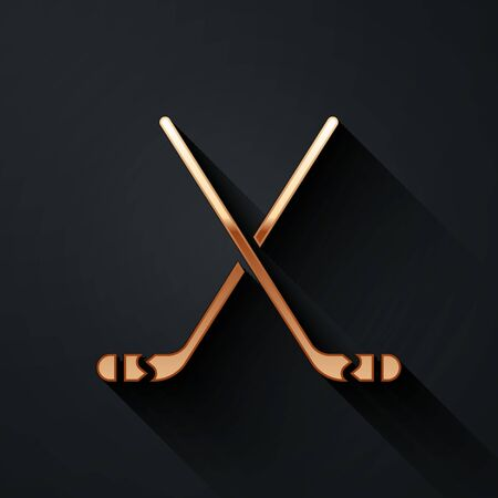 Gold Ice hockey sticks icon isolated on black background. Long shadow style. Vector Illustration