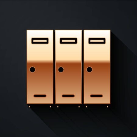 Gold Locker or changing room for hockey, football, basketball team or workers icon isolated on black background. Long shadow style. Vector Illustration