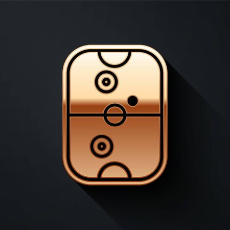 Gold Air hockey table icon isolated on black background. Long shadow style. Vector Illustration