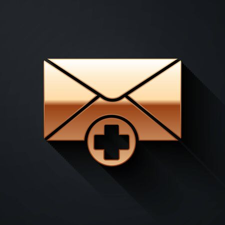 Gold Envelope icon isolated on black background. Received message concept. New, email incoming message, sms. Mail delivery service. Long shadow style. Vector Illustration
